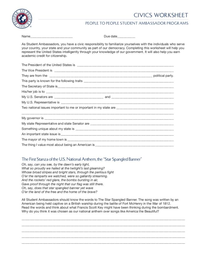 ServiceLearning Toolkit for Voting and Civic Participation – Being a Good Citizen Worksheet